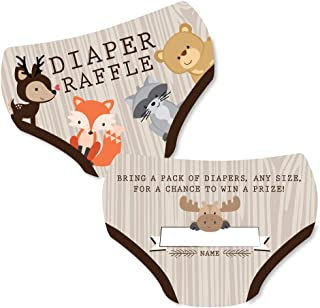 product image for Big Dot of Happiness Woodland Creatures - Diaper Shaped Raffle Ticket Inserts - Baby Shower Activities - Diaper Raffle Game - Set of 24