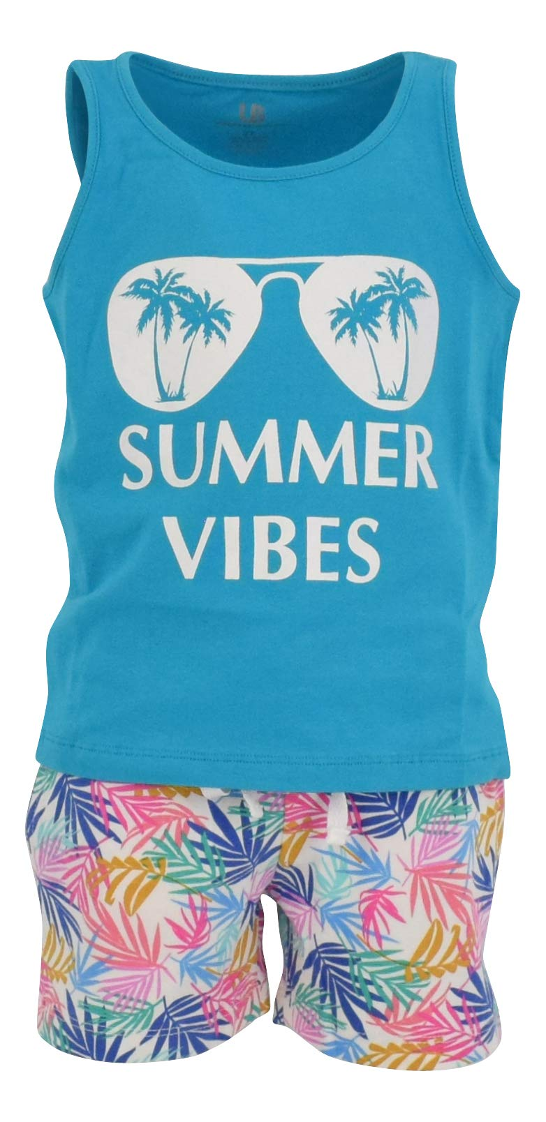 Unique Baby Boys 2 Piece Palm Leaf Print Tank Top and Pull On Shorts Outfit (6) White
