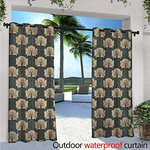 Floral Nouveau Windows - Floral Outdoor- Free Standing Outdoor Privacy Curtain W96