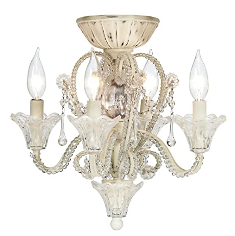 Amazon.com: Pull Chain Crystal Bead Candelabra Ceiling Fan Light ...