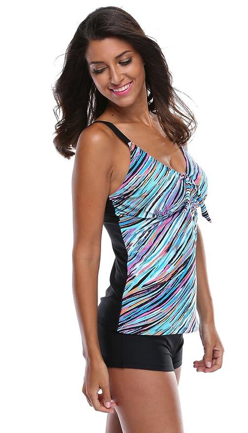 8f2c05d513 ATTRACO 2 pcs Swimsuit Set Ladies Tankini Swimwear with Shorts Purple 10 at  Amazon Women's Clothing store: