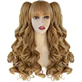 JoneTing Blonde Wig with Bangs for Women Long Curly Wig Blonde Wig Cosplay Wig for Lolita