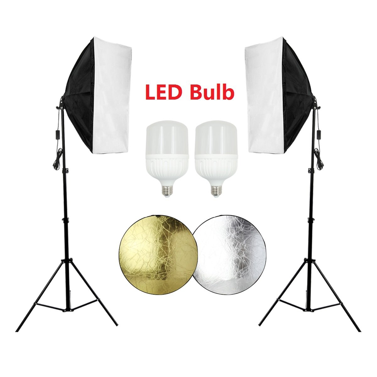 Photography Continuous Softbox Lighting Kit 20 x 28 inch Soft Box with 2 pcs LED Softbox Light Bulb for Professional Photo Studio Equipment Video Portrait Lighting with 2 in 1 Reflector