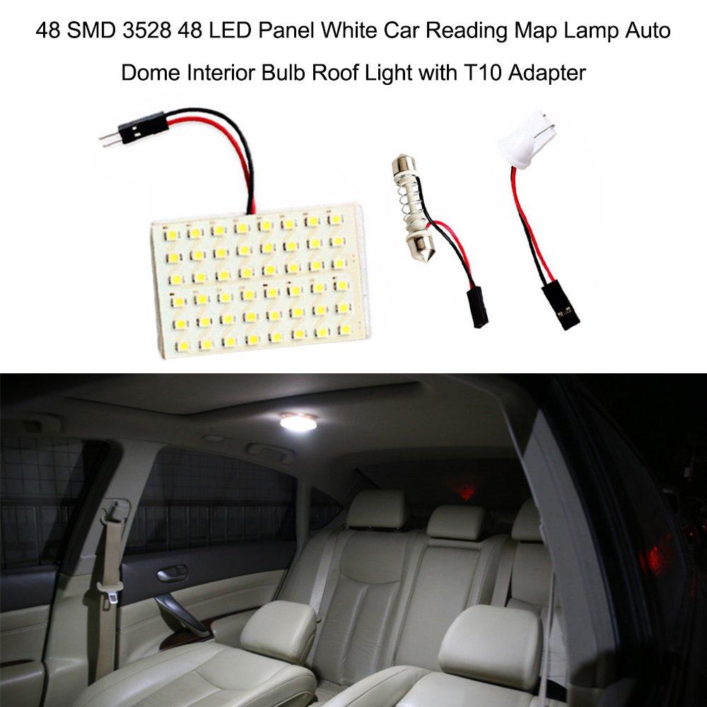 Voupuoda 12SMD 3528 12 LED Panel Blanco Coche Lectura l/ámpara de Mapa Auto Dome Interior Bulbo Techo luz con Adaptador T10