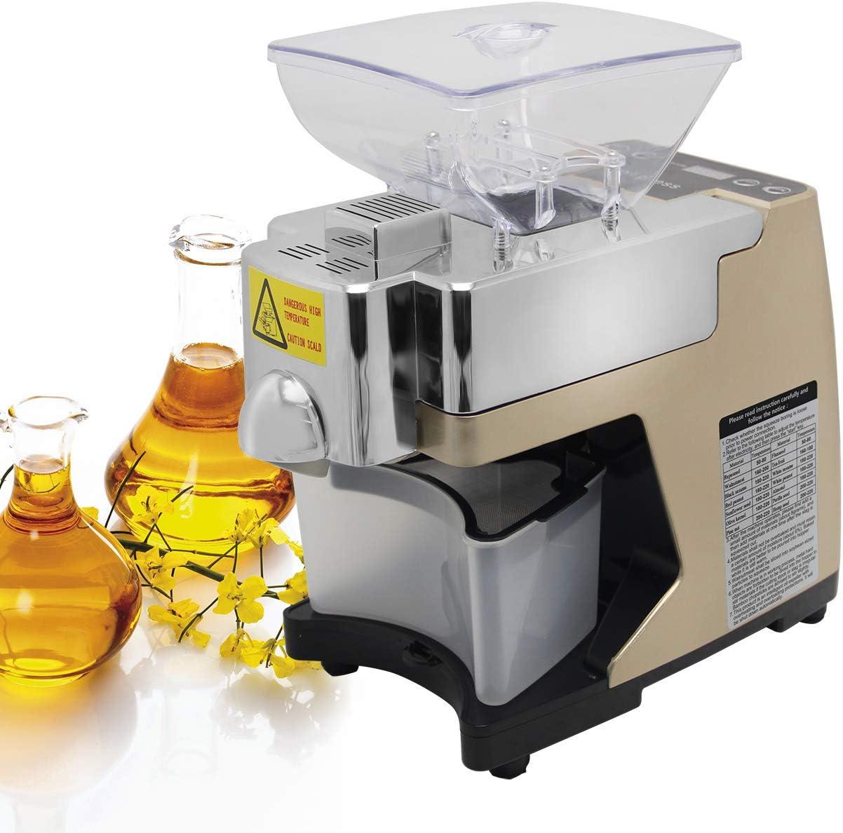 Automatic Intelligent Home Oil Extractor Cold Hot Press Machine Oil Presser (golden 110v)
