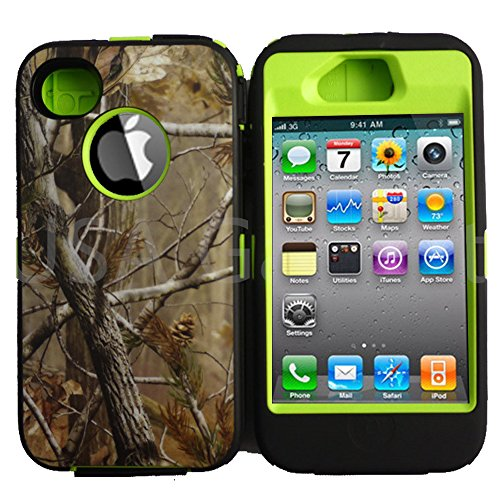 Kecko(TM) Heavy Duty Defender Tough Armor Shockproof Heavy Duty Tree Camo Impact Hybrid Case W/ Built In Screen Protector for iphone 4/4s--Camo Trees on the Core (Green)