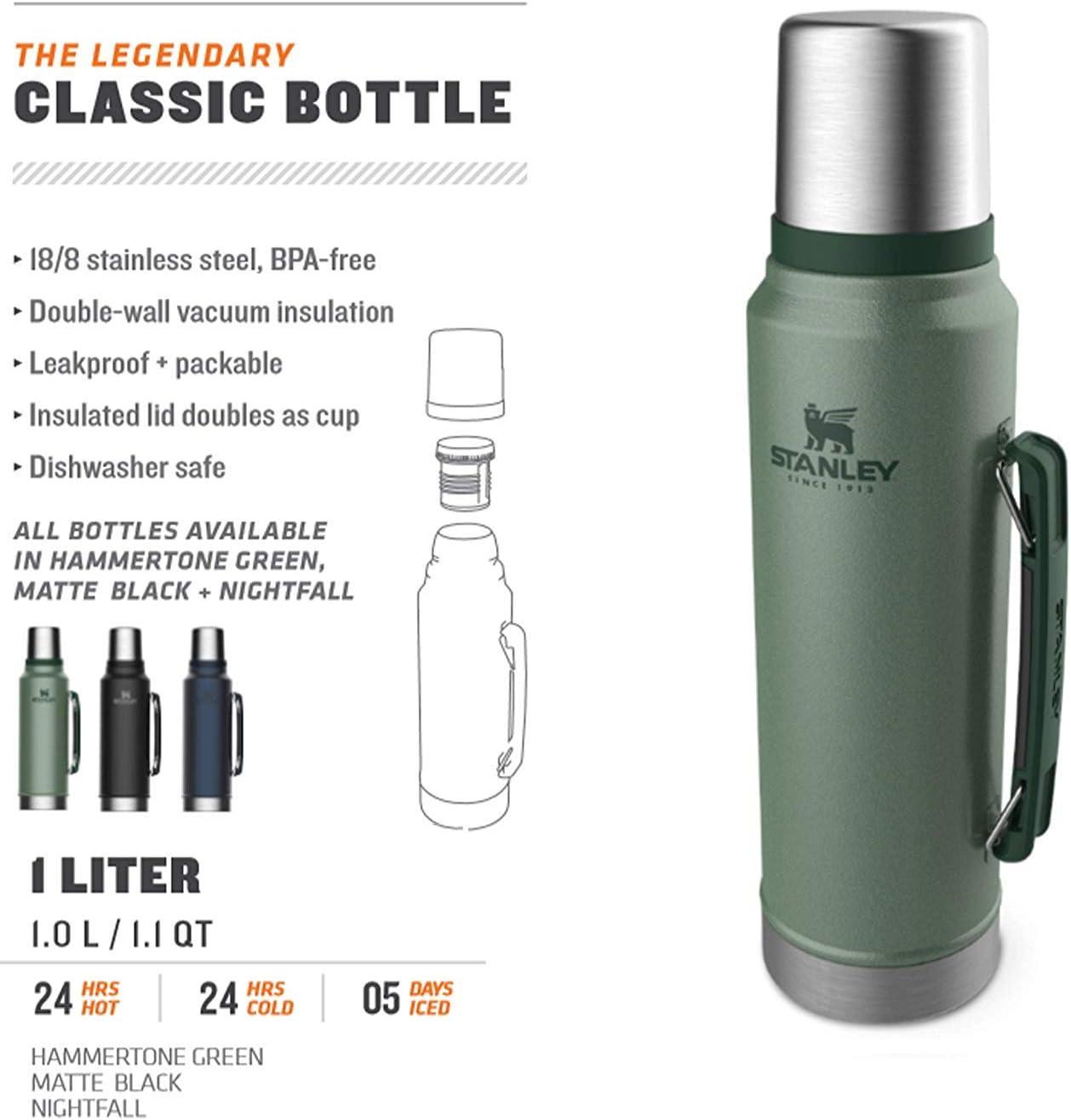 Neuf Stanley 0.75 L FIOLE acier inoxydable vide bouteille classique thermos boissons chaudes