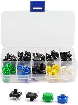 Tactile Push Button Switch Momentary Tact /& Cap 12x12x7.3mm Kit Arduino pn