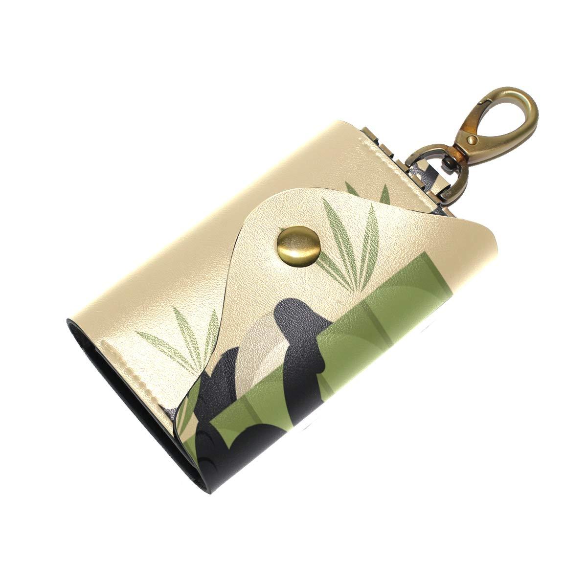 KEAKIA Black Panda Leather Key Case Wallets Tri-fold Key Holder Keychains with 6 Hooks 2 Slot Snap Closure for Men Women