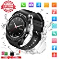 "Smart Watch with Bluetooth, 1.54"" Touchscreen Smart Wrist Watch with Sim Card Slot, Camera Controller Bluetooth Watch Unlocked Smartwatch Phone for iPhone X 6 7 8 Plus Android Samsung"