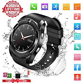 Smart Watch,Bluetooth Smartwatch Touch Screen Wrist Watch with Camera/SIM Card Slot,Waterproof Smart Watch Sports Fitness Tracker Compatible with Android ...