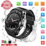 Smart Watch,Bluetooth Smartwatch Touch Screen Wrist Watch with Camera/SIM Card Slot,Waterproof Phone Smart Watch Sports Fitness Tracker Pedometer for Android iPhone IOS Huawei Sony for Women Men Kids