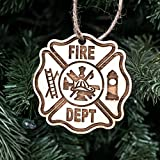 Ornament - Firefighter - Raw Wood 3x3in