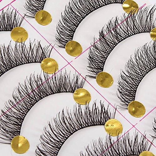 Urparcel 10 Pairs Natural Thicken False Eyelashes Eye Lashe Long Makeup Handmade