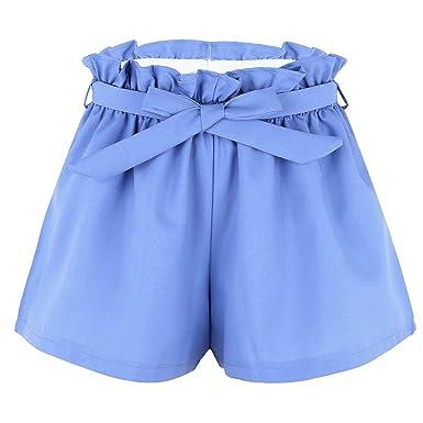 dPois Femme Plissé Short Été Mode Décontractée Taille Haute Mini Pantalon  Court avec Ceinture Short de 10425b1377ec