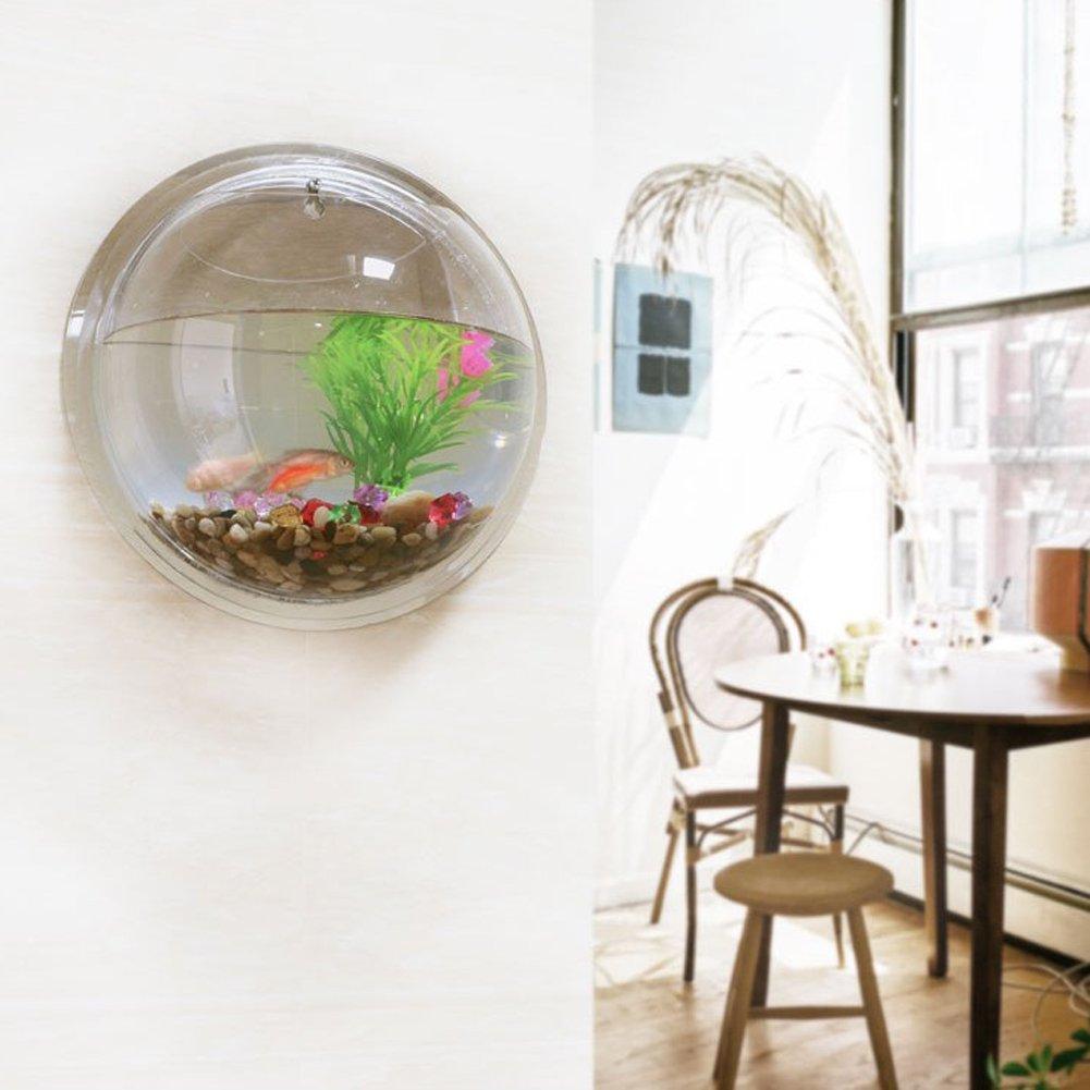 Transparent Jocestyle Wall Hanging Fish Tank Wall Mounted Bowl Aquarium Bubble Home Decoration
