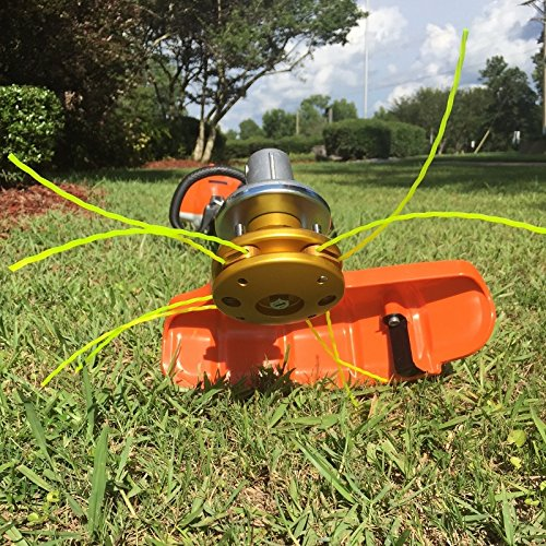 BadgerHead The Innovative Quick Change Grass Trimmer Replacement Head. Change from line to blades in seconds. Heavy duty aluminum & stainless steel construction. Turn your Weedeater into a Beast.