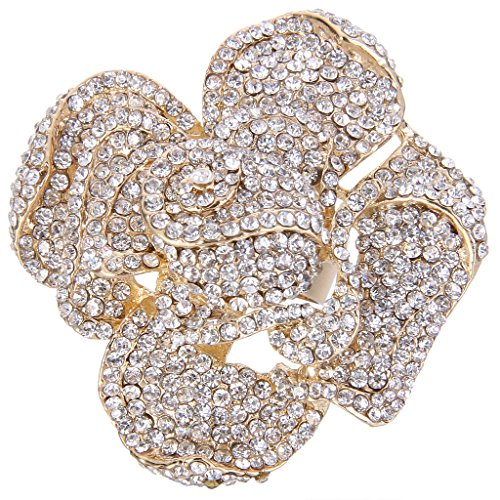 - EVER FAITH Austrian Crystal Blooming Rose Flower Adjustable Statement Ring Clear Gold-Tone