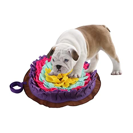 Perro redondo Cojín olfateador para mascotas Colada lavable Manta de alimentación Perros de juguete Juguete Alfombra para mascotas Alfombra ...