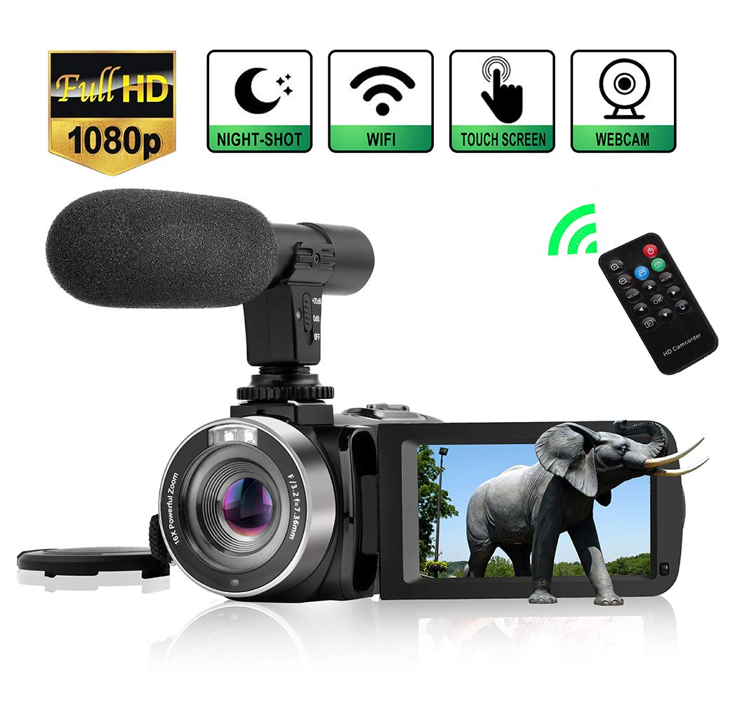 Camcorder Digital Video Camera, WiFi Vlog Camera Camcorder with Microphone IR Night Vision Full HD 1080P 30FPS 3'' LCD Touch Screen Vlogging Camera for YouTube with Remote Control by LINNSE