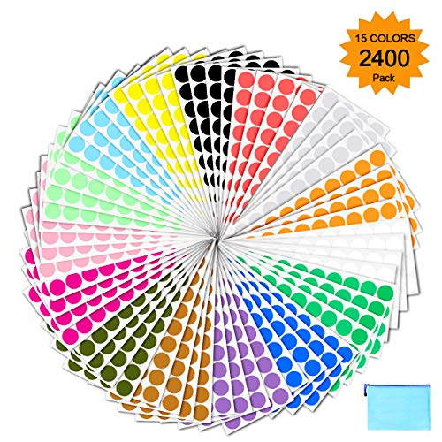 Pack of 2400 3/4″ Round Color Coding Circle Dot Sticker Labels – 15 Assorted Colors, Bonus Zipper File Bag Included for Easy Storage