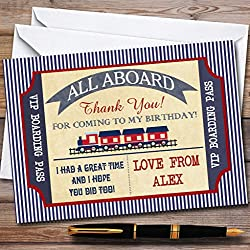 Blue & Red Boarding Pass Train Party Thank You Cards