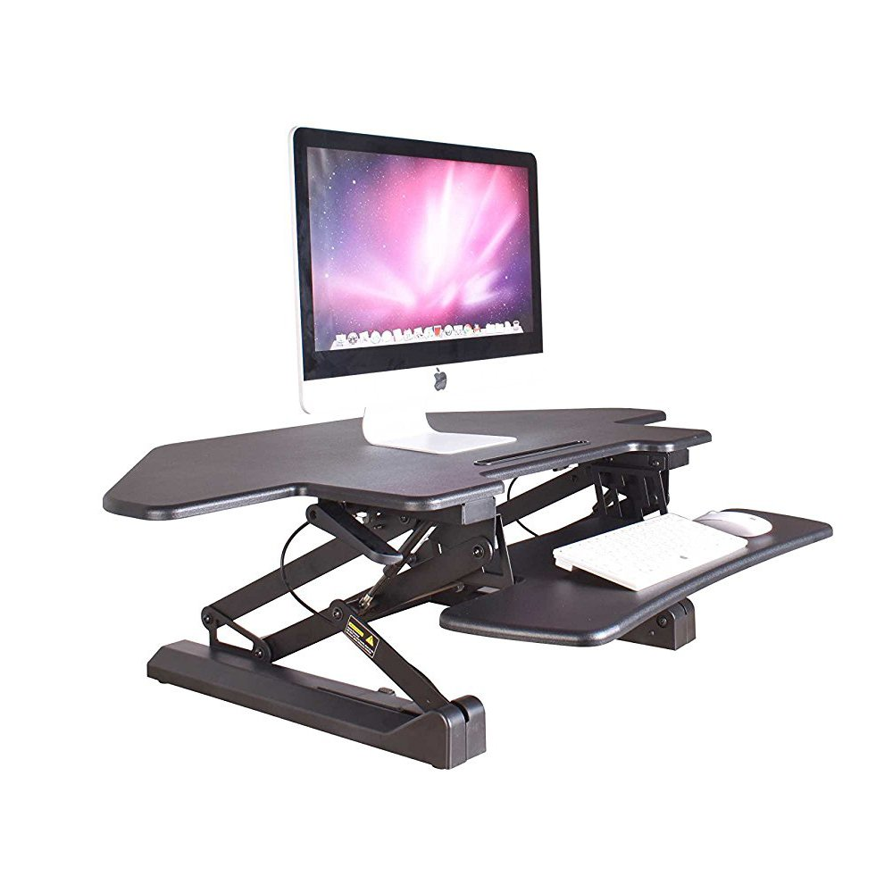 KoolDesk Corner Standing Desk Converter 40 inch Wide Adjustable Height Tabletop Sit Stand Up Desk for Cubicles, Removable Spacious Keyboard Tray Platform – Black