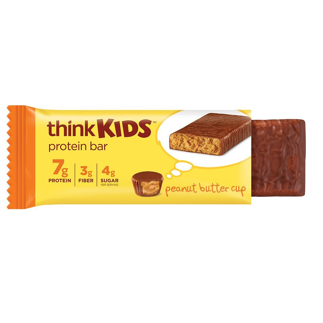 thinkKIDS Protein Bars - Peanut Butter Cup, 7g Protein, 3g Fiber, 4g Sugar, No Artificial Flavors or Colors, Gluten Free, GMO Free