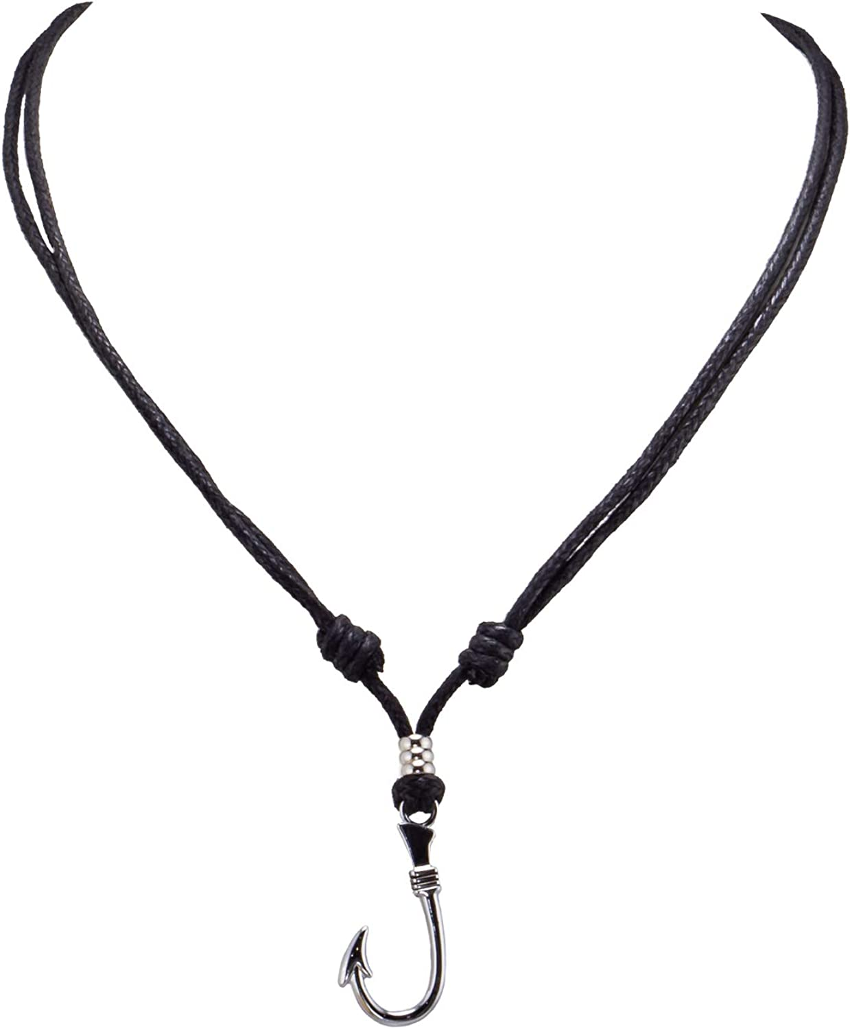 BlueRica Fish Hook Pendant on Adjustable Black Rope Cord Necklace