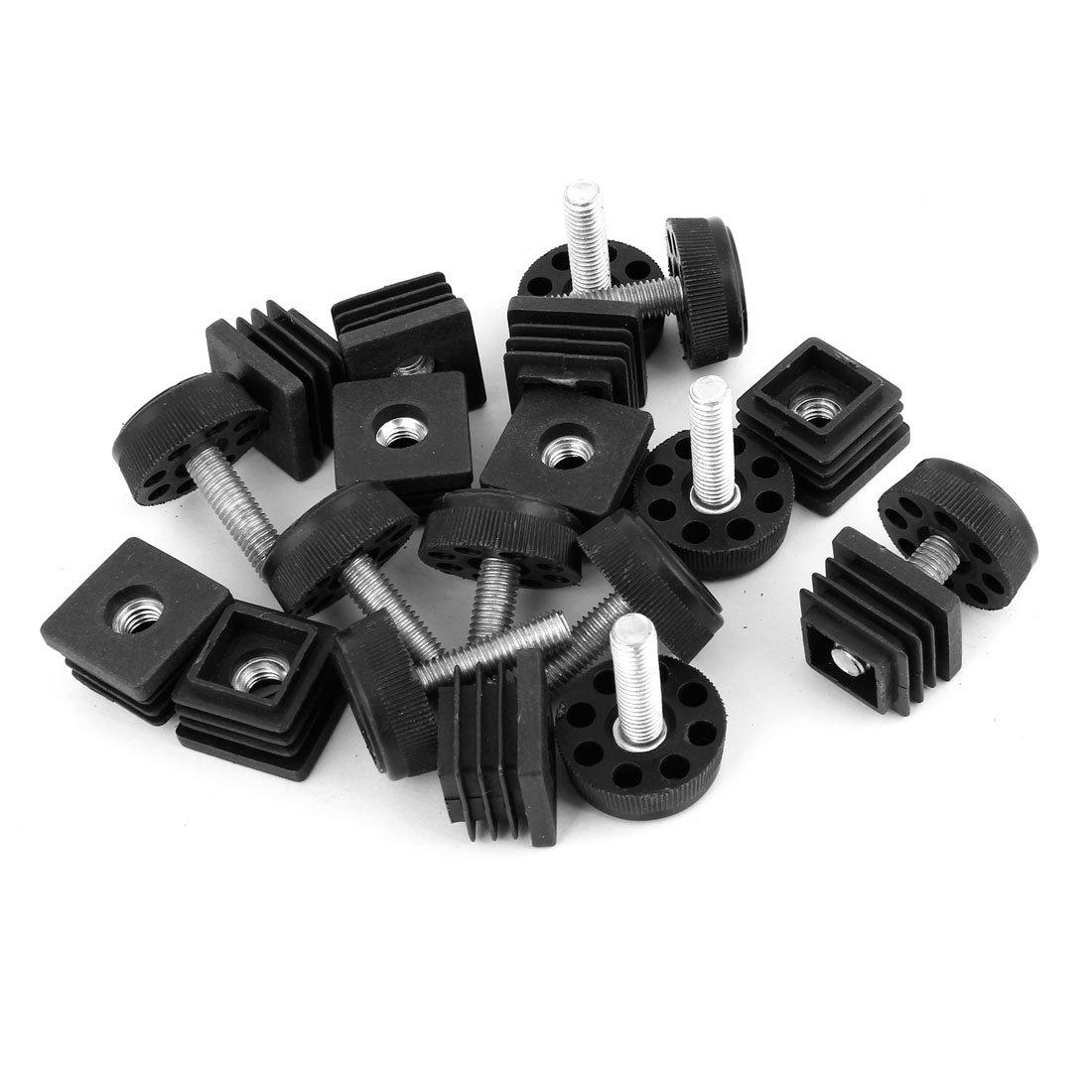 Sourcingmap Quadratische Verstellbare Fu/ßkappen-Set 10 Sets 25 mm x 25 mm 30 mm Bodendurchmesser