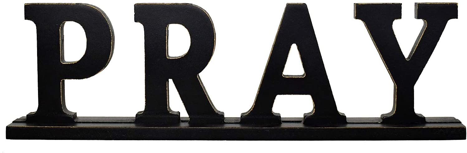 Wood Pray Sign for Home Decor, Wooden Pray Block Letters Rustic Tabletop Words Decor (Black Pray Sign)