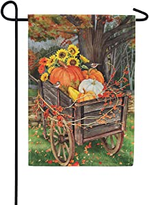 Custom Decor Pumpkin Wheelbarrow - Garden Size, Decorative Double Sided, Licensed and Copyrighted Flag - Printed in The USA Inc. - 12 Inch X 18 Inch Approx. Size