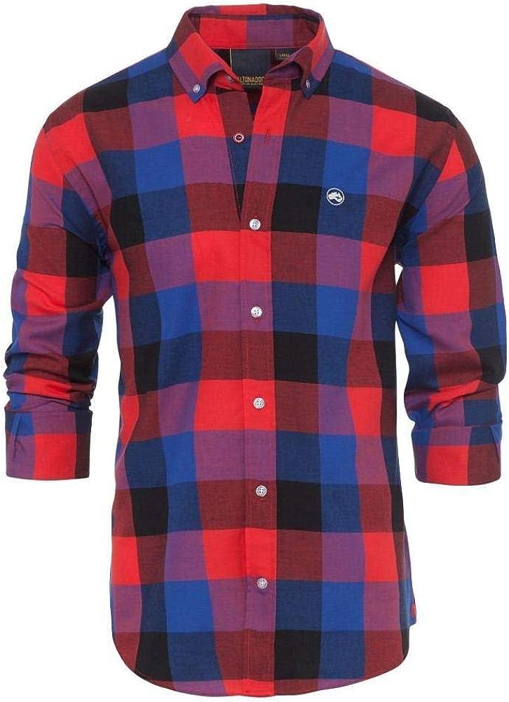 ALTONADOCK Camisa Cuadros Roja Y Azul para Hombre Small Rojo: Amazon.es: Ropa y accesorios