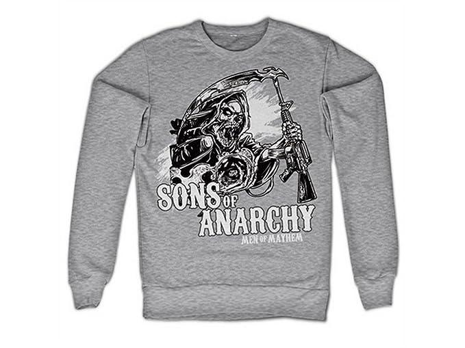 Sons of Anarchy - Sudadera con Capucha - Manga Larga - para Hombre Gris S