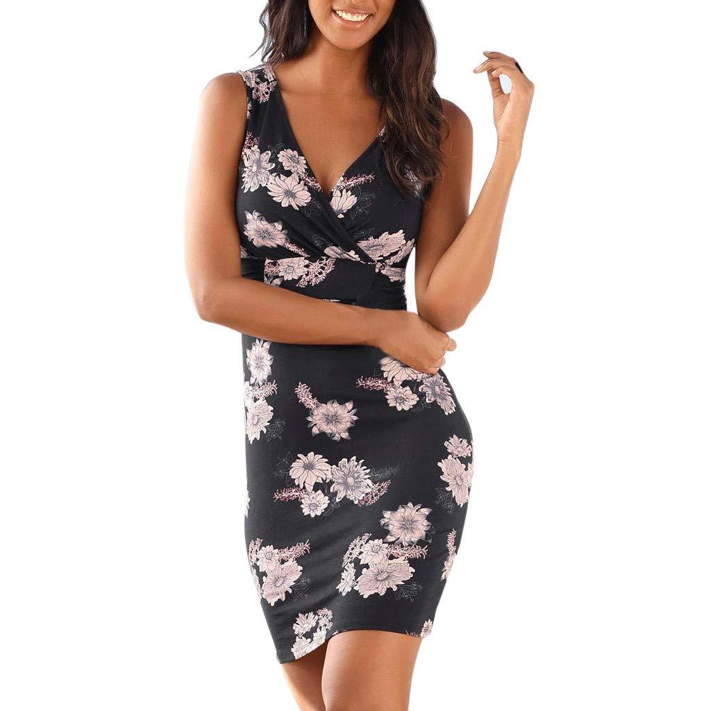 TnaIolral Women Dresses V Neck Boho Print Sleeveless Summer Beachwear Sundress Mini Skirt Black