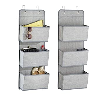 mDesign Soft Fabric Over The Door Hanging Storage Organizer with 3 Large Pockets for Closets in Bedrooms, Hallway, Entryway, Mudroom - Hooks Included ...