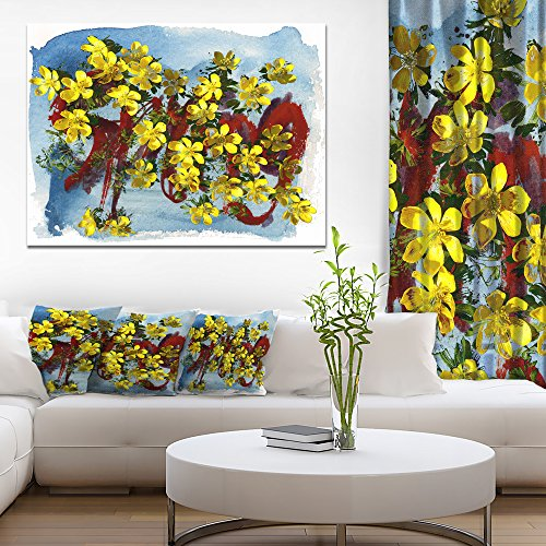 Lettering and Yellow Spring Flowers Floral Art Canvas