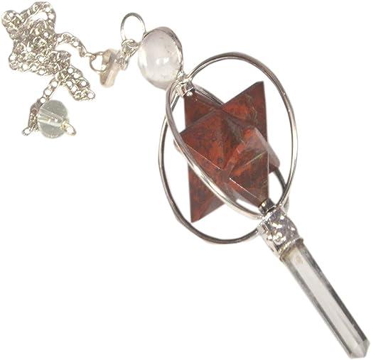 Gemstone spinning merkaba star pencil crystal healing chakra reiki pendulum