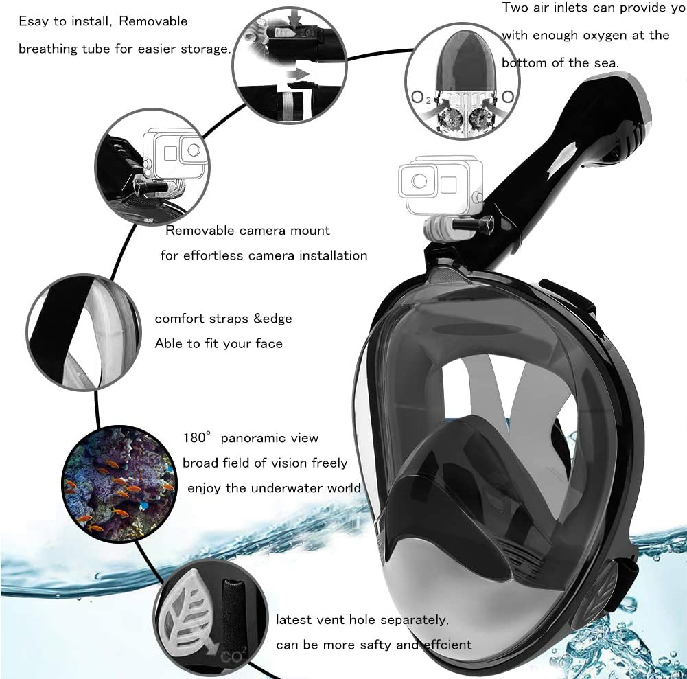 Panoramic 180/° View Upgraded Dive Mask with Safe Breathing Dry Top System DEKINMAX Full Face Snorkel Mask,2020 Newest Ultralight Anti Fog /& Anti Leak Snorkeling Mask