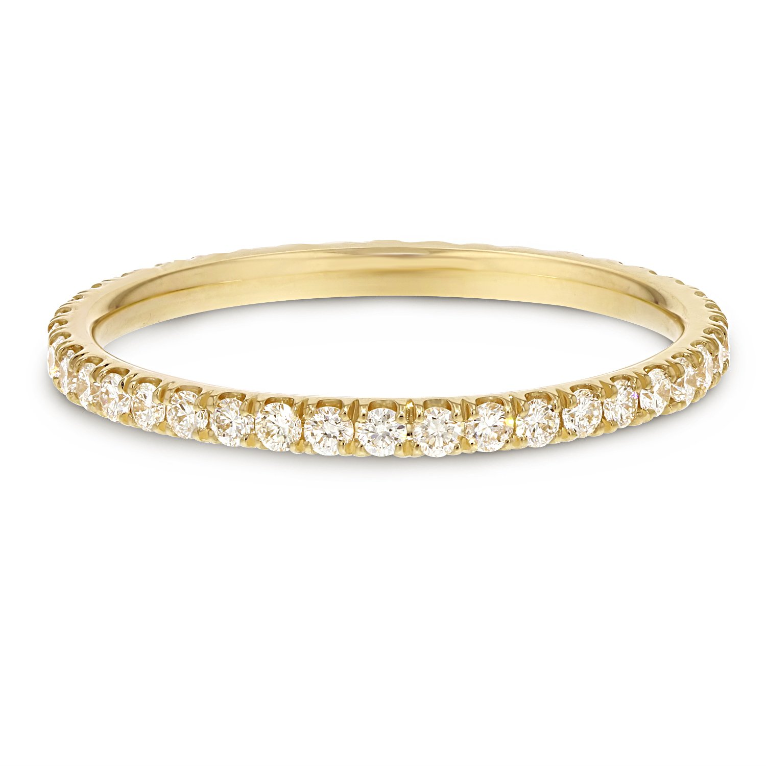 IGI Certified 18K Yellow Gold Comfort Fit Diamond Eternity Band, 1.6mm (0.60 cttw, F-G Color, VS2-SI1)