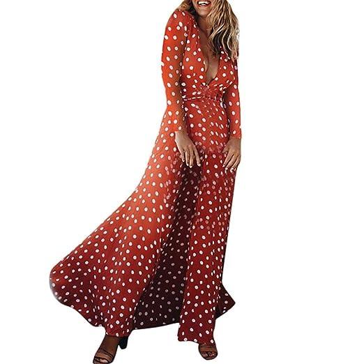 33b2c083042 UOFOCO Fashion Women Polka Dot Long Sleeve Beach Fashion Dress Sundress  Boho Long Party
