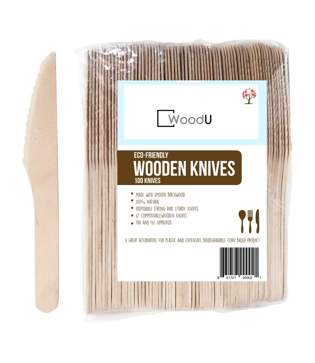 WoodU Disposable Wooden Knives Natural Birch Wood Biodegradable Knife Utensils Cutlery Eco-Friendly Green (100 pack)