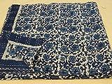 Indigo Pure Cotton Bedspread Queen Size Quilt Block Print Kantha Stitch Kantha Quilt Indian Bed Cover Reversible Throw Orange Quilt