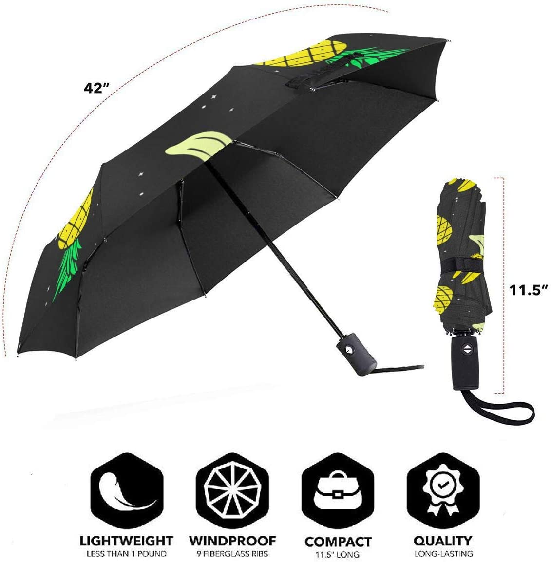 Pineapple Palm Tree fashion print cute Windproof automatic tri-fold umbrella sun UV protection Sun umbrella