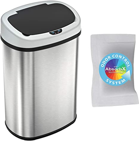 Amazon Com Itouchless 13 Gallon Sensorcan Touchless Trash Can With Odor Absorbing Filter Stainless Steel Oval Shape 49 Liter Kitchen Bin With Sensor Activated Lid Home Kitchen