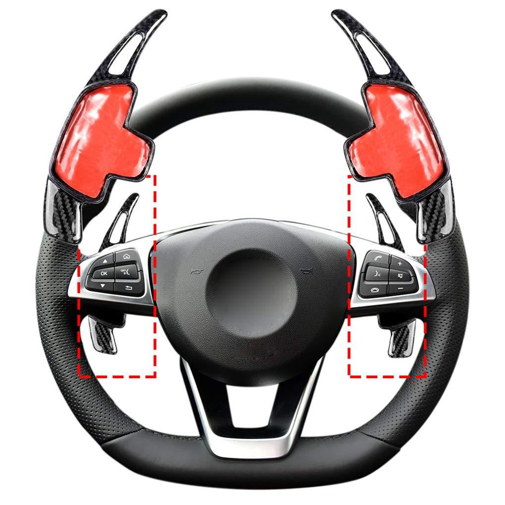 Couvre Volant Gear Shift Remplacement Paddle Garniture pour Mercedes Benz Classe C en Fibre de Carbone Autocollant Regard