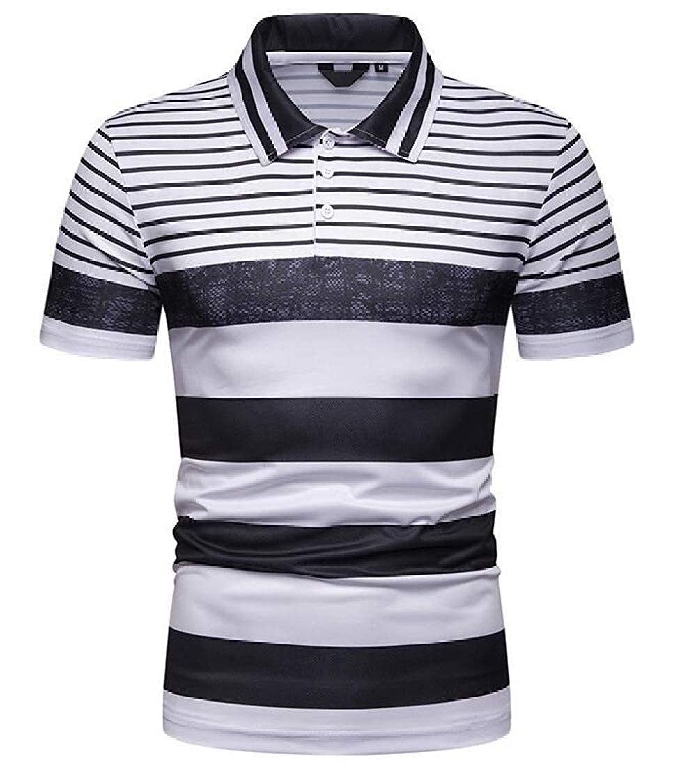 BYWX Men Contrast Simple Short Sleeve Horizontal Stripes Summer Polo Shirt