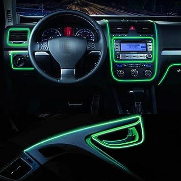 Car Decorative Rope Glow Atmosphere Panel Gap Light Strip Red 5 Meters Car Edging Trim Moulding Strip MACHSWON Car Interior Neon Light Strip