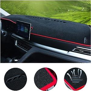 SureKit Car Custom Dash Cover for Honda Civic 2005-2011, 2012-2015, 2016-2017 Auto Dashboard Pad DashMat Dash Board Cover (red line)