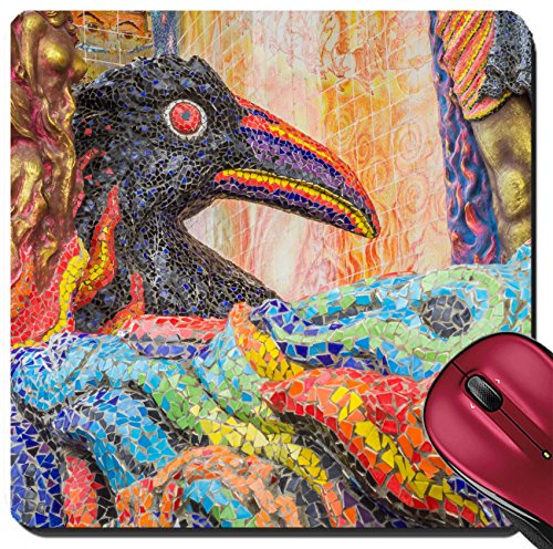 Liili Suqare Mousepad 8x8 Inch Mouse Pads/Mat IMAGE ID 33077993 Crow sculpture was decorated with glazed tile in front of the sanctuary in Ban Rai temple Korat - Image Ban